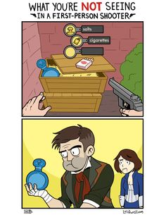 Loldwell: What You're NOT Seeing In a First Person Shooter - Dorkly Comic