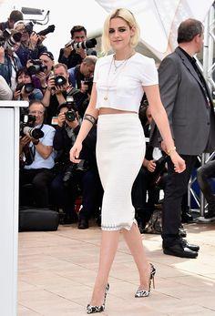 Kristen Stewart usa look branco no primeiro dia de Cannes