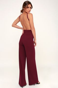 The night is yours in the Something to Behold Burgundy Jumpsuit! Sleek stretch knit forms this sexy jumpsuit with an open back and wide pant legs. Burgundy Casual Dress, Burgundy Jumpsuit, Black Jumpsuit, Girls Night Out Dresses, Going Out Dresses, Dressy Rompers And Jumpsuits, Jumpsuits For Women, Backless Jumpsuit, Jumpsuit Outfit