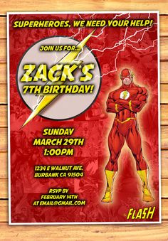 The Flash Birthday Invitation The Flash by MonsterDigitals on Etsy