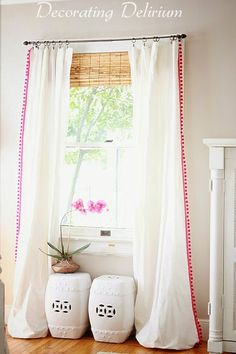 DIY Pom-Pom Drapes  Add instant drama and sophistication to basic Ikea drapes