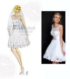 Pois Corto - Bride Illustration , Wedding Dress,  Fashion Illustration, fashion illustrator by @MissStyleCreazioni ♥ ♥ ♥ ♥ ♥ ♥ www.etsy.com/shop/MissStyleCreazioni ♥ ♥ ♥ ♥ ♥ ♥