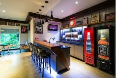 Captivating Home Bar Interiors With Imperial Blue Lighting Idea