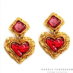 Beautiful 1990's Christian Lacroix heart earrings with red stones.