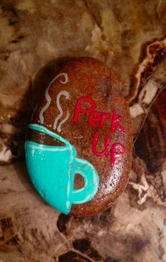 Coffee - perk up painted rocks craft, painted stones, hand painted rocks, r Rock Painting Patterns, Rock Painting Ideas Easy, Rock Painting Designs, Pebble Painting, Pebble Art, Stone Painting, Shell Painting, Painted Rocks Craft, Hand Painted Rocks