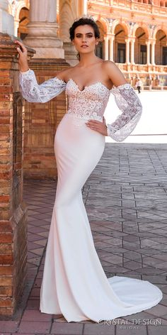 crystal design 2017 bridal long bishop sleeves sweetheart neckline heavily embellished bodice elegant lace sheath wedding dress a  line overskirt corset back chapel train (camilla) mv