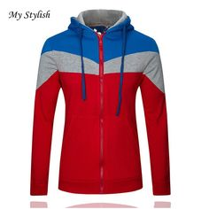 76a0148f1 Classic Color Lump Splicing Front Pocket Slimming Drawstring Hooded Long  Sleeves Hoodie For Men. Men's Clothing · Hoodies & Sweatshirts