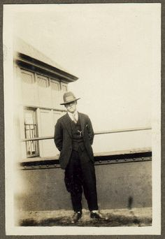 1920s 'gangster' style chap    This came from an album of tiny Box Brownie shots, and there are several of this young man. Found in Brighton, and I think he was local - there is a shot of Brighton's Palace Pier in there.
