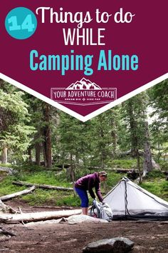 14 Things to do while camping alone Backpackers can go a little crazy hiking alone all day with no one to talk to, or get very anxious and scared lying awake, alone at night. Try these instead next time you're camping or backpacking alone. Camping And Hiking, Solo Camping, Backpacking Tips, Hiking Tips, Camping Meals, Family Camping, Tent Camping, Camping Hacks, Hiking Gear