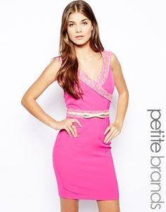 OH SO PRETTY IN HOT PINK dress - Paper Dolls Petite Lace Trim Bardot Pencil Dress...accentuate