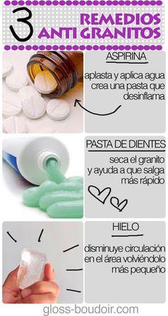 3 remedios para combatir los granitos - Infografías y Remedios. #acné #remedios #infografía #infographic
