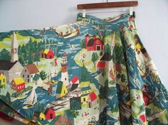 Fantastic early American village life and landscape novelty print 1950s circle skirt. #vintage #1950s #fashion #skirts #novelty_print #USA