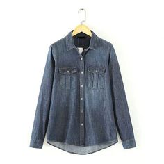 LT275 New Fashion Ladies' elegant classic blue denim blouses vintage long sleeve pockets OL shirts casual slim brand tops
