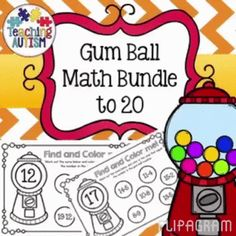 Gum Ball Math Bundle, Addition and Subtraction 0 to 20, Color the Sum, Colour the Sum  This activity comes in both British and American spelling of color/colour.   Students have to colour/color the sums that make the number in the gum ball machine.  This download includes numbers 0 - 20. It is a no prep activity, just print and go! It is a bundle of both addition and subtraction.