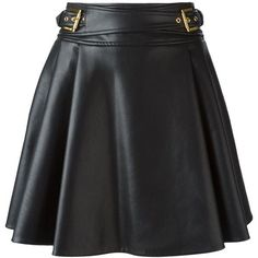 Roberto Cavalli Leatherette Flared Skirt ($1,011) ❤ liked on Polyvore featuring skirts, gonne, black, roberto cavalli skirts, leatherette skirt, black skater skirt, circle skirt and black knee length skirt