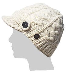 361cef194b32c Cable Knit Peaked Beanie - White Wooly Hats