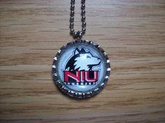 Northern Illinois University bottle cap necklace NIU HUSKIES