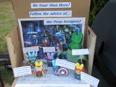 "3rd place: Judith Quist, staff, Dimond Library -- ""Wellness Avengers""  University of New Hampshire, Health Services (2013 Peeps Show)"