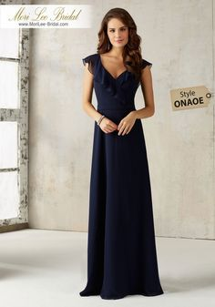 Morilee Bridesmaid 21527 Mori Lee Bridesmaid 21527 is a stunning chiffon bridesmaid dress with a romantic ruffled v neckline. The back of the bodice has an open keyhole. Mori Lee 21527 has a flowy skirt that will look great on your bridal party. Mori Lee Bridesmaid Dresses, Navy Blue Bridesmaid Dresses, Prom Dresses, Wedding Dresses, Long Dresses, Navy Bridesmaids, Bridesmaid Outfit, Dressy Dresses, Bride Dresses
