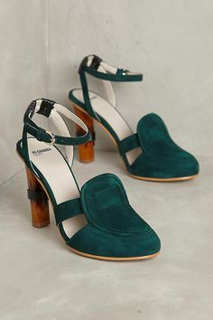 Slide View: 1: Jil Sander Navy Tapered Loafer Heels