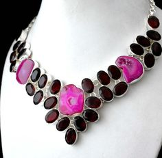 Statement Necklace Jewelry Collection With Solar Druzy-Red Garnet Quartz