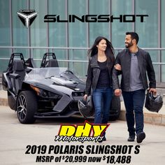 For a limited time, get a 2019 #Polaris #SlingshotS with an MSRP of $20,999 now priced at $18,488 at #DHYMotorsports. That's a lot of driving excitement for the money! See store for details. Polaris Slingshot, Used Motorcycles, Money, Store, Storage, Shop