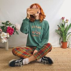 Cute faded forest green vintage jumper sweater 🥀With. - Depop - Cute faded forest green vintage jumper sweater 🥀With chunky – Depop Best Picture For outfits - Aesthetic Fashion, Aesthetic Clothes, Look Fashion, 90s Fashion, Retro Fashion, Vintage Fashion, Fashion Outfits, Art Hoe Fashion, Aesthetic Sweaters