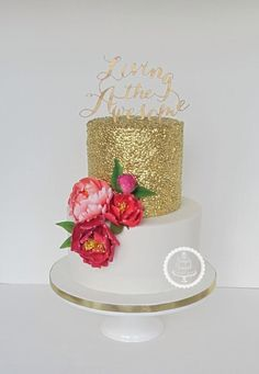 Gold sequins and a pop of colour