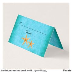 Starfish pair and veil beach wedding folded escort place card