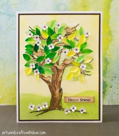 Mixed media card for March MMCC: Hello Spring
