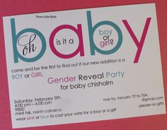 Gender Reveal Invitation by Three Little Birds