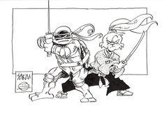 Usagi and Leonardo (TMNT) (Unavailable) - Stan Sakai Akira, Adachi Mitsuru, Comic Book Characters, Comic Books, Usagi Yojimbo, Leonardo Tmnt, Geek Out, Teenage Mutant Ninja Turtles, Caricature