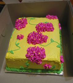 Yellow Flower Sheet cake + purple hydrangeas! Hello Spring! Mother's Day? - Rubio's Cupcakes