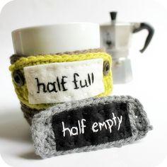 Mood Coffee Mug Cozy Tea Cup Half Empty Half Full funny crochet brown gray black lime handmade cover on Etsy, $27.78 CAD