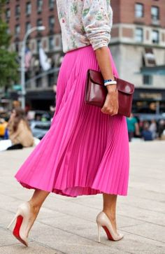 Lovely knife-pleat pink maxi and dark maroon leather clutch and high heels pumps