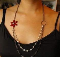 Glittering Blossom, Cherry Red Rhinestone and Pearl Necklace    $68.00