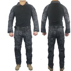 Military Tactical Army Uniform With Knee Pads Shirt+Pants Suit Clothing Camouflage Sets Outdoor Hunting Combat Camping Uniform