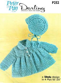 Vintage Crochet Pattern PDF Baby Coat and Bonnet Crochet Pattern Vintage Baby Boys Girls Croche Crochet Coat, Crochet Bebe, Crochet Jacket, Crochet Hooks, Crochet Stitches, Vintage Crochet Patterns, Baby Patterns, Vintage Knitting, Pram Sets