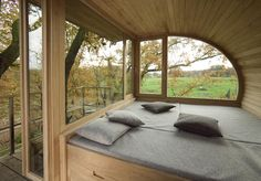 Treehouses. Love 'em all. But these grown-up pre-fab ones by Bauraum are designed for some serious time-out amongst the leaves.