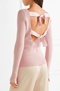 Pastel-pink ribbed-knit Ties at back 40% wool, 25% viscose, 25% nylon, 8% cashmere, 2% elastane Dry clean Imported