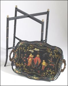 toile trays-Chinoiserie - Tray Table