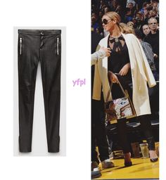 Beyoncé was spotted yesterday (February 6th) at Golden State Warriors vs Oklahoma Thunder game wearing GUCCI Stretch Leather Legging ($1,995)