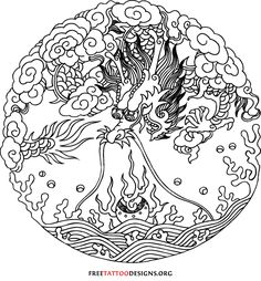 Round Chinese dragon with pearl tattoo design