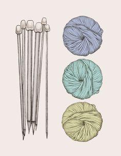 Illustration aiguilles et pelote (couleur)