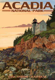 Acadia National Park, Maine - Bass Harbor Lighthouse Foto bij AllPosters.nl
