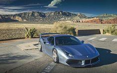 تحميل خلفيات فيراري 488 GTB, SEMA, الفضة رياضة السيارات, ضبط 488, الفضة 488, الإيطالية للسيارات الرياضية, فيراري