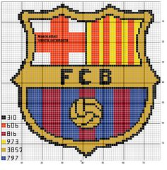 Cross Stitch Letters, Mini Cross Stitch, Fcb Logo, Pixel Crochet Blanket, Psg, Soccer Pictures, Fc B, Modern Cross Stitch Patterns, Cross Stitching