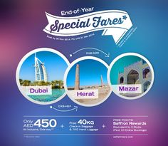 Enjoy our Special Promo Fare* of just AED 450 from Dubai to Herat or Dubai to Mazar-e-Sharif. Hurry, book now and get FREE 40 KG Baggage Allowance. Also get a chance to earn 3 extra Saffron Rewards Stub-Points if you book online. *Terms & conditions apply.  www.safiairways.com/new-promotion  #Dubai
