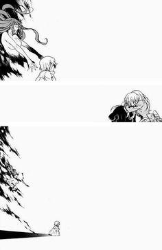 """So please, don't cry alone anymore."" ||| Miranda, Vincent, and Ada ||| Pandora Hearts Retrace 97 ""I Am"""