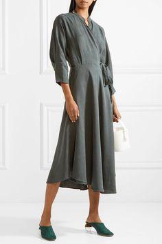 APIECE APART - Wild Waves Tencel And Linen-blend Wrap Midi Dress - Army green